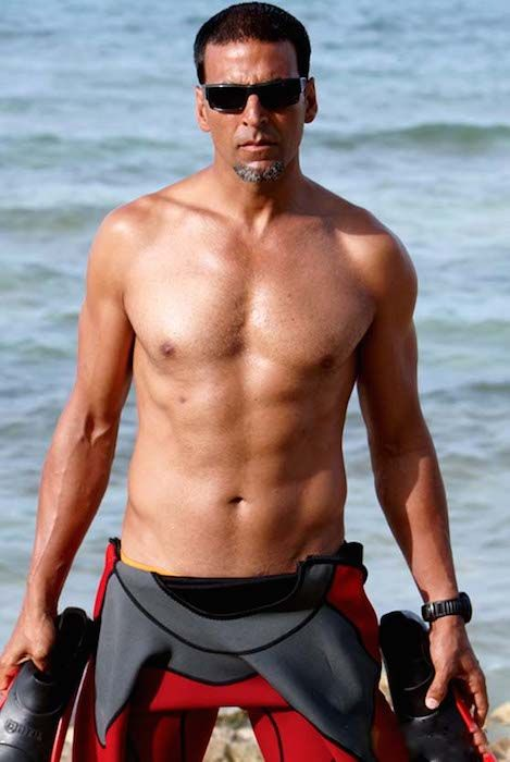 Indian actor Akshay Kumar shirtless...