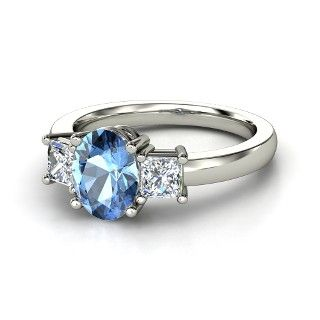 Oval Blue Topaz 14K White Gold Ring with Diamond - lay_down