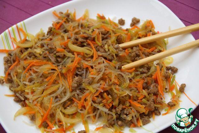 Фунчоза с фаршем и овощами ингредиенты