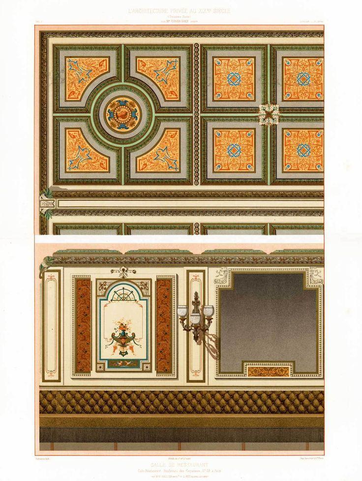 Antique Print Boulevard DES Capucines Restaurant Ornament Daly Lebreton 1877 | eBay