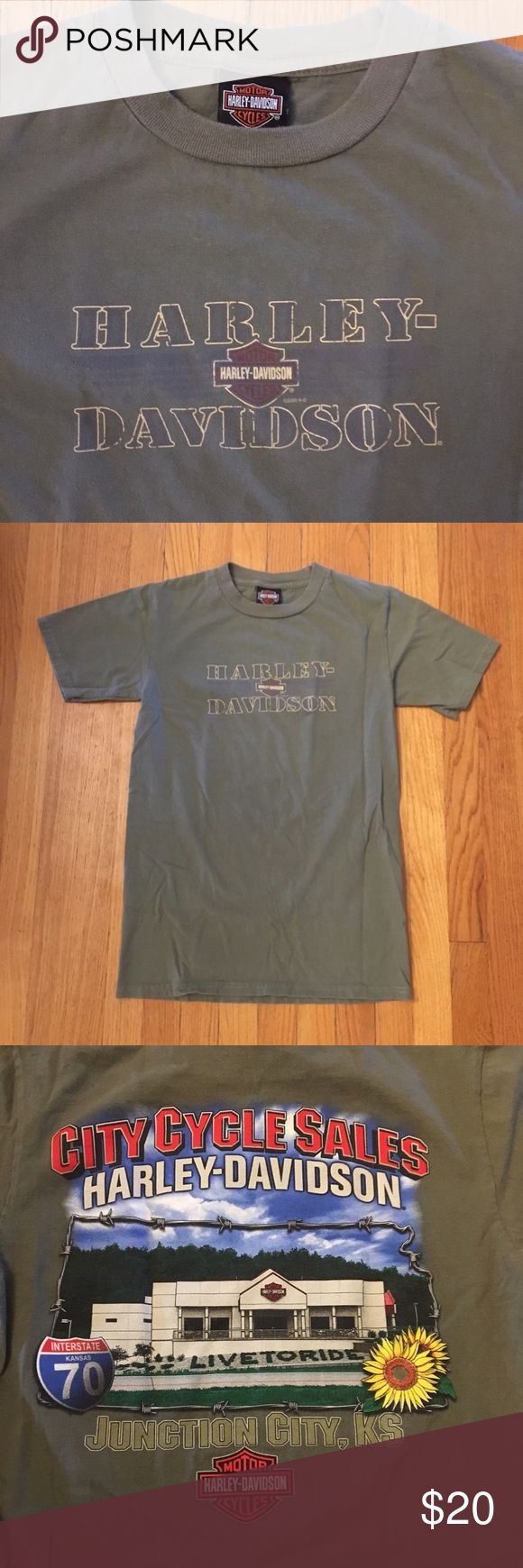 Army Green Harley Davidson T-Shirt Harley Davidson T-Shirt from a dealer in Junction City, Kansas. Faded army green color gives it a vintage vibe. I love the design on the back with the sunflower! Size small fits true. Excellent condition. Last two photos are style inspo only! Harley-Davidson Tops Tees - Short Sleeve