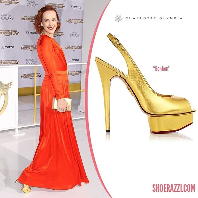 Jena Malone wore Charlotte Olympia Bonbon platform pumps to The Hunger Games: Mockingjay  Part 1 premiere held at Nokia Theatre L.A.