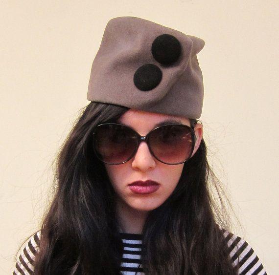 Vintage 1960s Mod Gray Toque Hat with Large Black by BasyaBerkman, $23.00