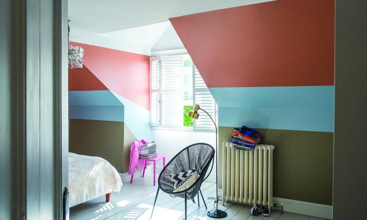 Children's Bedroom Colour Scheme; Lulworth Blue No.89 Modern Emulsion Red Earth No.64 Modern Emulsion Mouse's Back No.40 Modern Emulsion