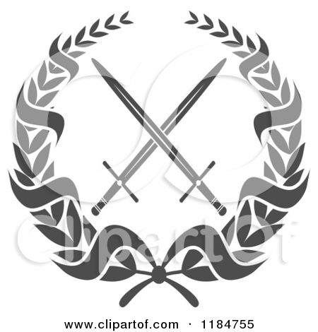 1184755 clipart of a heraldic grayscale laurel wreath for Crossed swords tattoo
