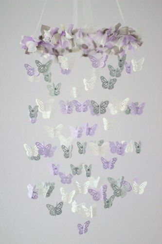 cute women clothes lavender and gray baby shower   Lavender  Gray  White Butterfly Mobile  Baby Shower Gift