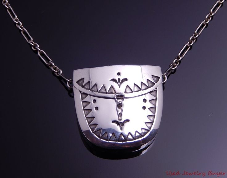 "Leslie Tracey Navajo Sterling Silver Medicine Bag Necklace 28"" #LeslieTracey"
