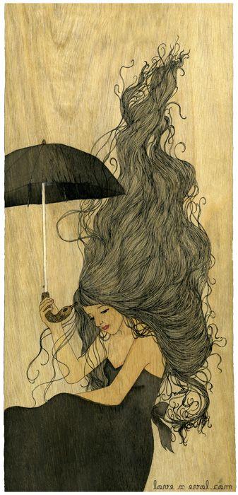 """""""Viento y lluvia"""", ilustración de Eveline Tarunadjaja"""