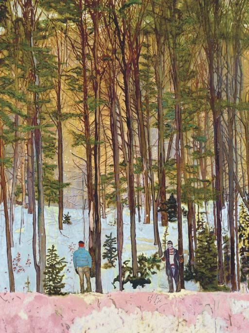 To me, Peter Doig's work shows an appreciation of nature, he seems to get lost in the vastness of woods and dramatic landscapes.