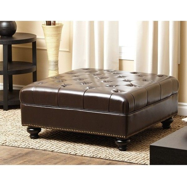 abbyson living oreana leather ottoman coffee table in dark brown - Brown Leather Ottoman