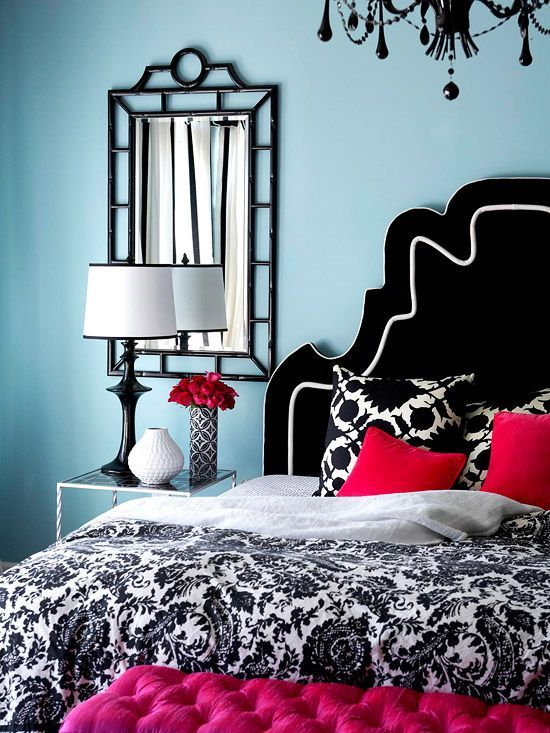 Light Blue Bedroom With Red Accents