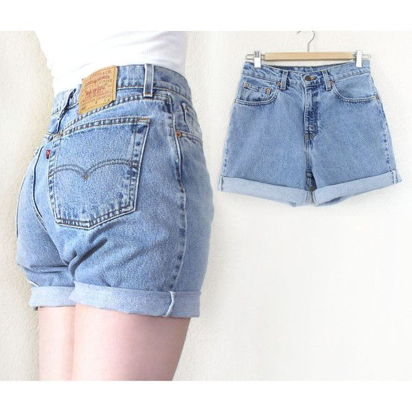 80s 90s Cuffed Light Blue Rinse Women's Baggy Levis Shorts ($32) ❤ liked on Polyvore featuring shorts, high-waisted cut-off shorts, high rise shorts, high waisted cuffed shorts, vintage shorts and 80s shorts