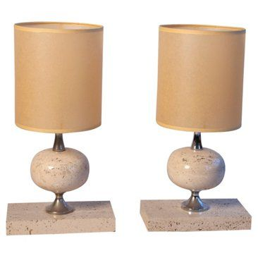 View this item and discover similar table lamps for sale at pair of travertine table lamps a spherical form mounted with nickeled bronze on a rectangular