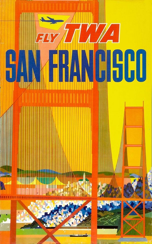 SF: Vintage Posters, Picture-Black Posters, Travel Photo, Sanfrancisco, Travel Tips, David Small, Vintage Travel Posters, San Francisco, Flying Twa