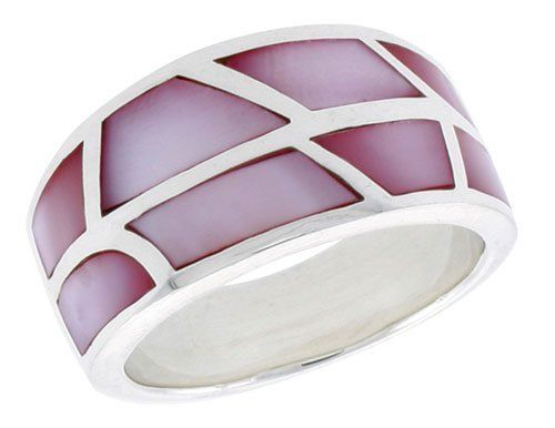 """Sterling Silver Dome Shell Ring, w/Pink Mother of Pearl Inlay, 1/2"""" (12.5mm) wide, size 7 Sabrina Silver. $42.30"""