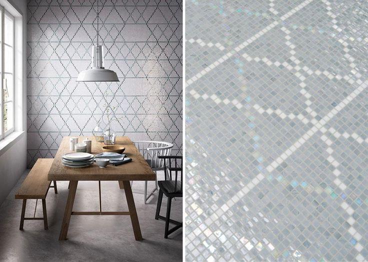 Mosaico+ Decor Collection - Wollen Smoke #mosaicopiu #glassmosaic #mosaico #mosaic #dining #room #minimal #design #madeinitaly #decoration #walldecor