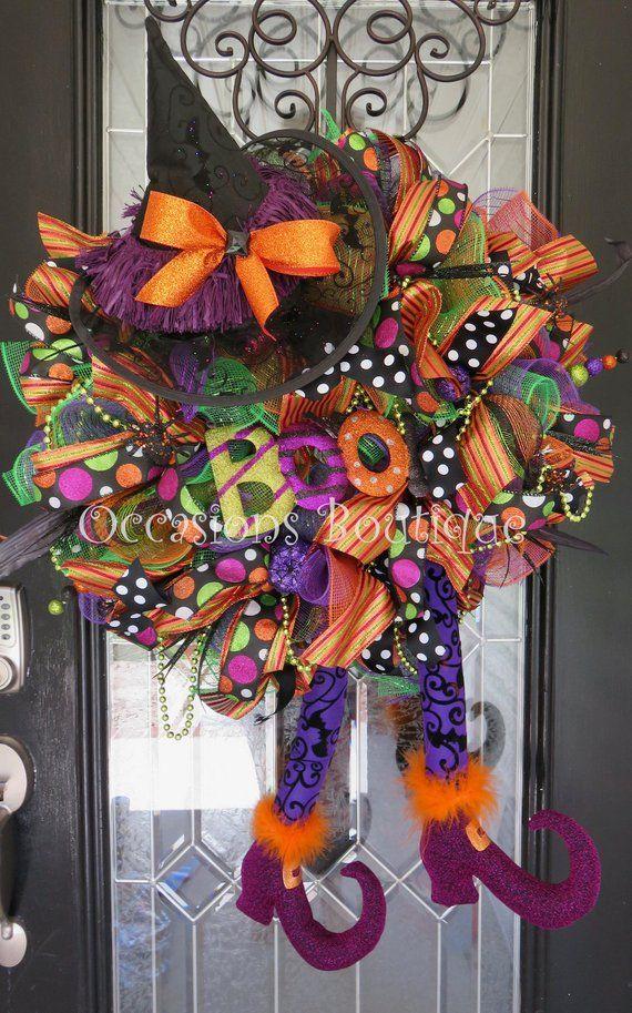 Large wreath Front door Wreath Wreath for door Wicked Witch Wreath Fall Wreath Halloween Wreath Halloween Decoration Door Hanger