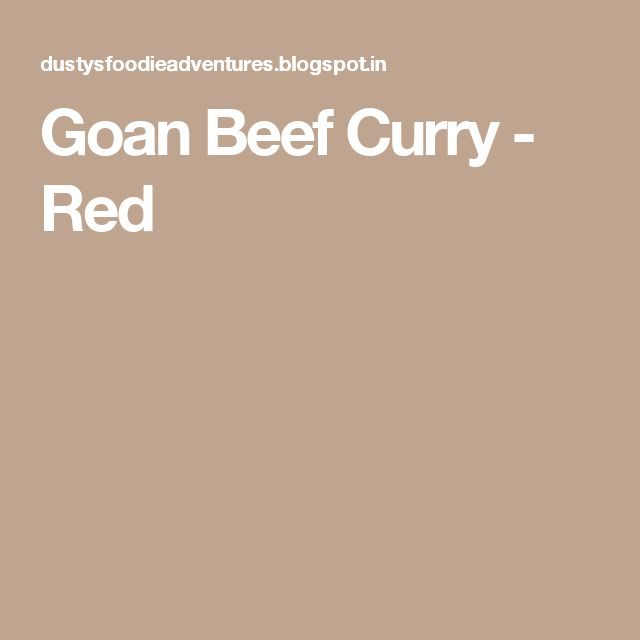 Goan Beef Curry - Red