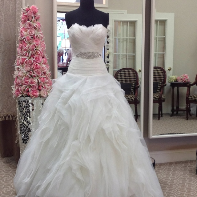 Benicarlo from pronovias this dropped waist ball gown for Feather wedding dress davids bridal