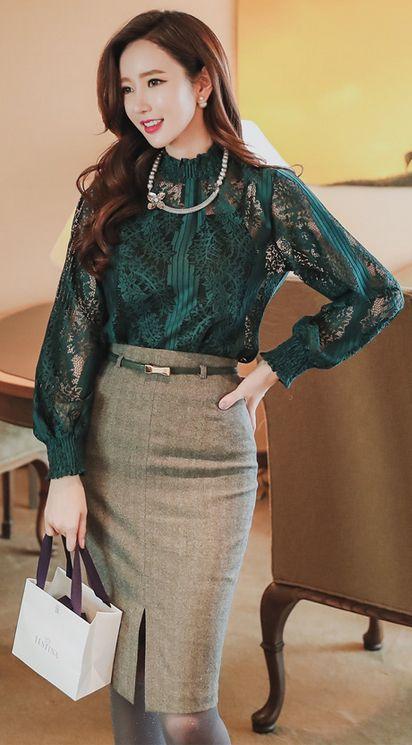 StyleOnme_Front Slit Belted Pencil Skirt #ribbon #belt #pencilskirt #frontslit #koreanfashion #kfashion #elegant #lace #kstyle #formal #feminine #girly #falltrend #seoul