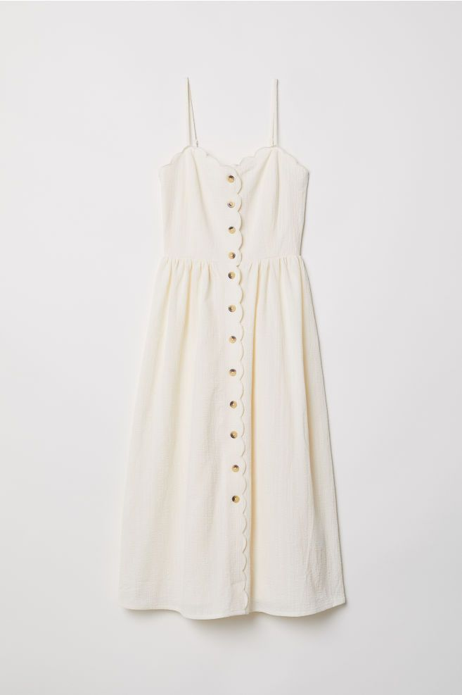Dress With Buttons Natural White Ladies H M Us Girls Casual Dresses Casual Dress Outfits Casual Dresses