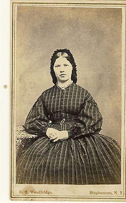 LADY IN DRESS CIVIL WAR TAX STAMP CDV PHOTO by E S WOODBRIDGE BINGHAMTON NY 19 in Collectibles, Militaria, Civil War (1861-65) | eBay