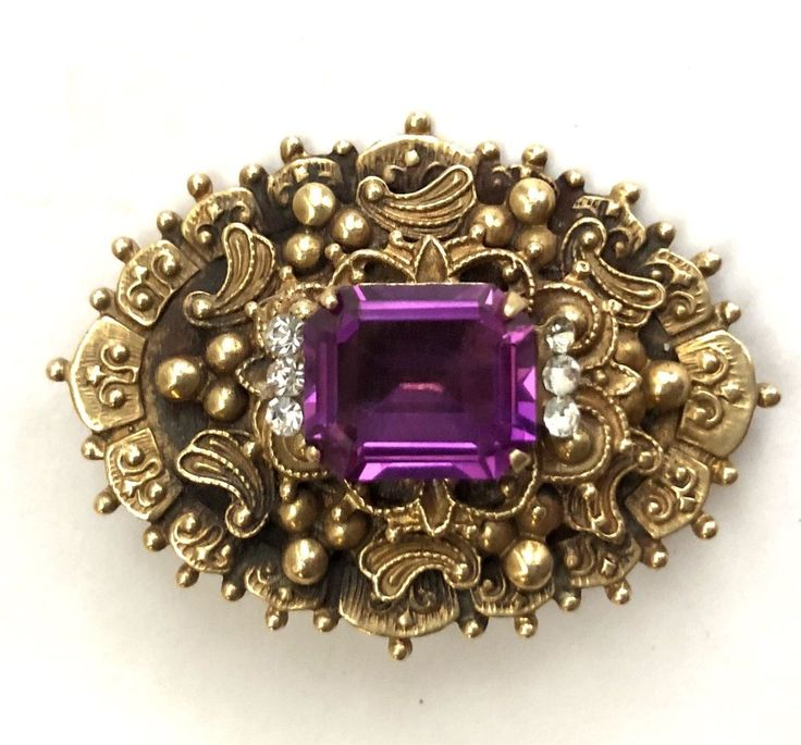 VICTORIAN GOLD GILDED BRASS AMETHYST-PASTE PIN-BROOCH-ORNATE  | eBay