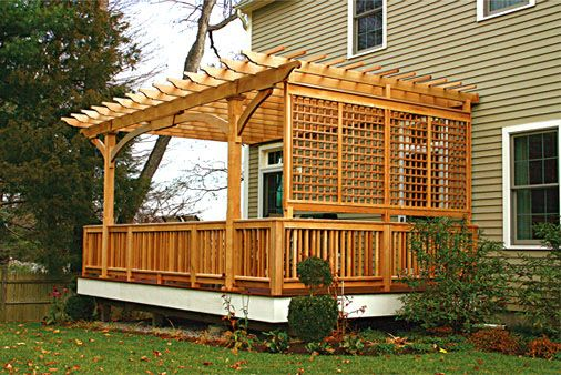 Deck Pergola -  This outdoor room was created on a deck using the pergola, railing and lattice to establish privacy and define a space. When combined with plants and climbing vines a very attractive natural setting is created. Added shade can be achieved with the introduction of fabric canopies or acrylic inserts placed between the rafters. http://www.trellisstructures.com/pergolas/ap01-attached-pergola.html