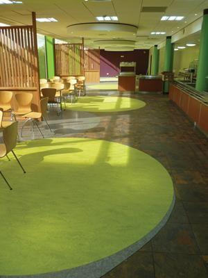 Vinyl floor tiles in education projects