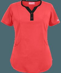 Butter-Soft Scrubs by UA™ Jewel Neck Top / Color: Poppy w/ Black / Style # UA798C / Original Price: $15.99  / Seasonal Colors from $15.99 / Sale Colors from $11.99