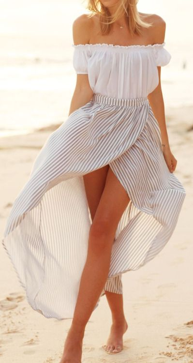 Love the dress. white shoulderless top striped bottom. Summer women fashion outfit clothing style apparel @roressclothes closet ideas