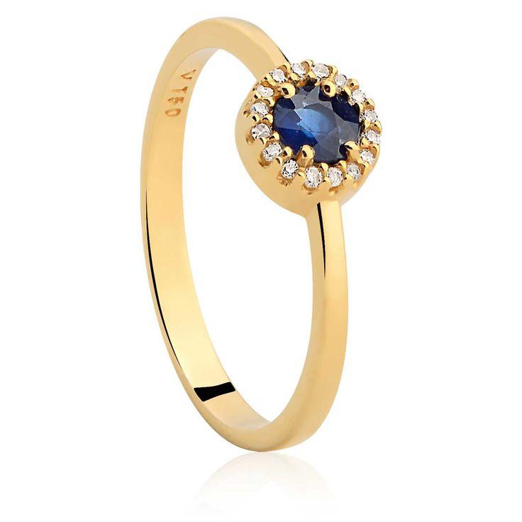 Anel Ouro Amarelo Diamantes e Safira Classic Oriental