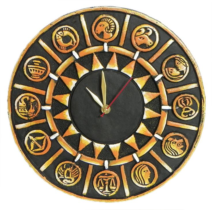 Battery Operated Wall Clock in a Square Terracotta Disc with Zodiac Signs - Wall Hanging (Terracotta)