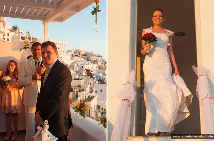Santorini sunset wedding - bride & groom