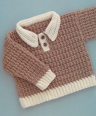 Crochet Pattern ~ BABY BOY GINGERBREAD PULLOVER SWEATER ~ Instructions