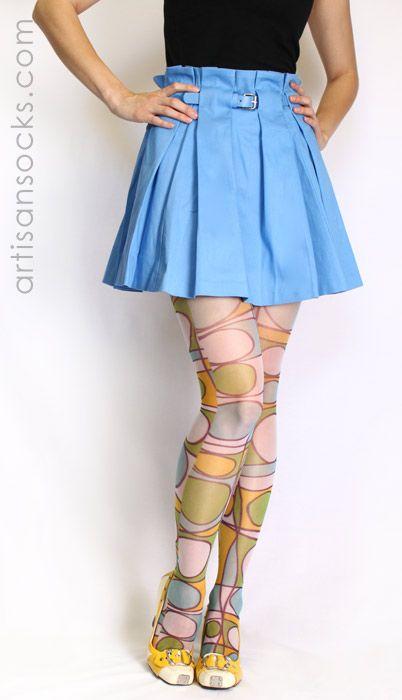 Sheer Retro Stockings - 60's Geometric Pattern Tights by Celeste Stein from Artisan Socks www.artisansocks.com
