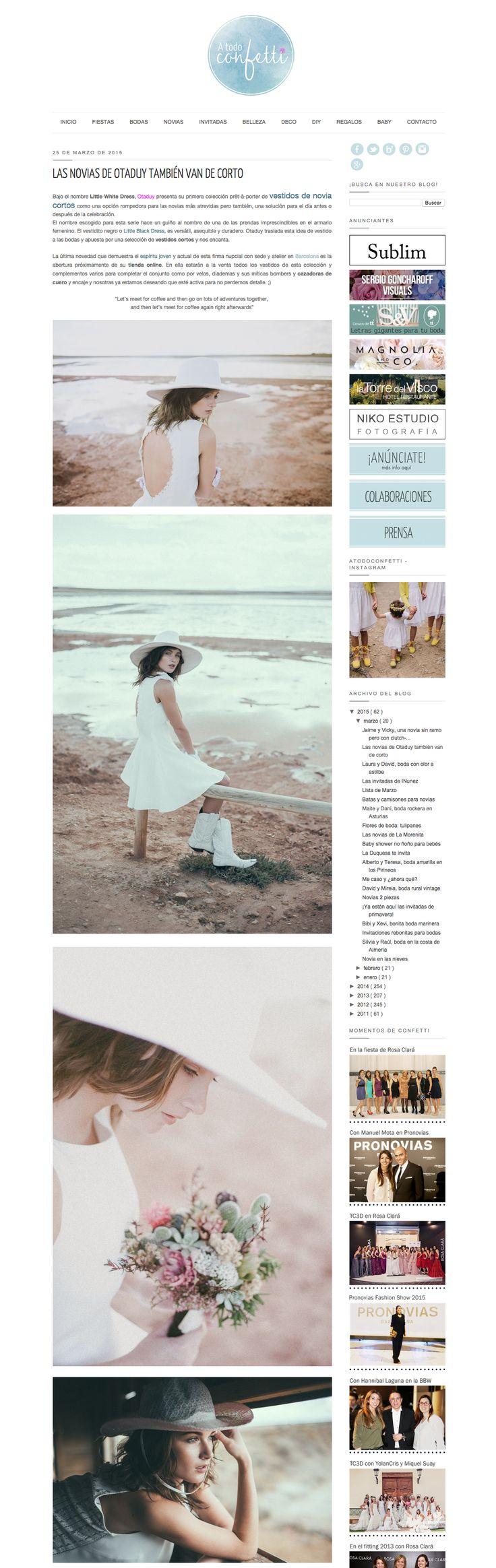 Featured in A todo Confetti || http://www.atodoconfetti.com/2015/03/vestido-corto-novia-otaduy-little-white-dress.html