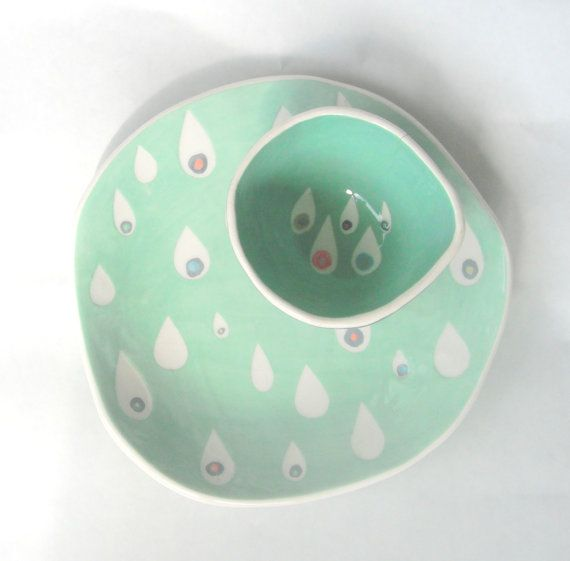 Dessert plate Mint Raindrops READY TO SHIP by CeramicaBotanica, $45.00