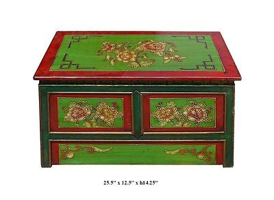 Tibetan Hand Painted Peony Flower Motif Low Altar Table TV Stand F851 | eBay