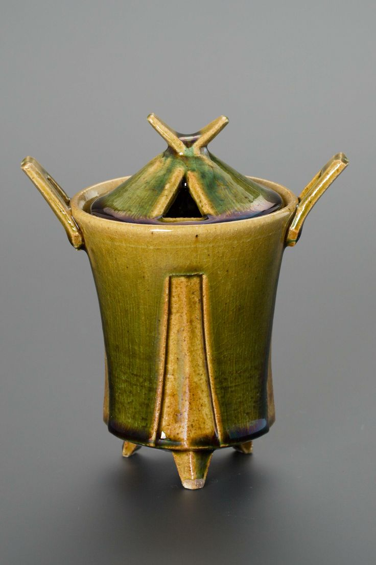 織部刻文香炉 Incense burner with engraved,Oribe type 2013