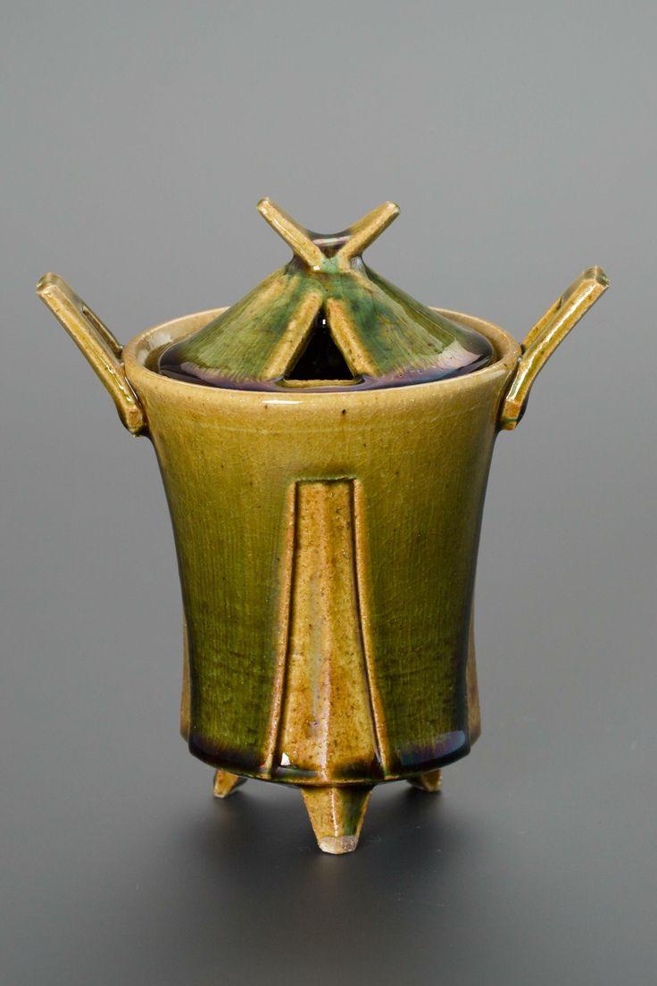 織部刻文香炉 Incense burner with engraved,Oribe type 2013