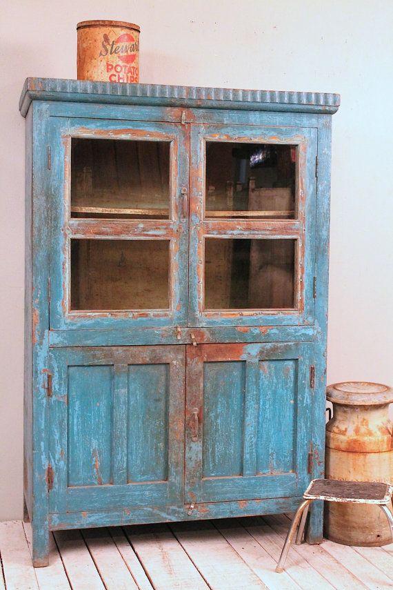 Vintage Distressed Bright Blue Lightly Restored Indian Industrial Glass Storage Curio Bathroom Cabinet