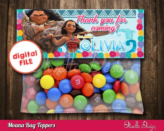 Moana Favor Bag Toppers BIRTHDAY party Printable, Moana, Vaiana Favor, Princess Moana, Vaiana - Personalized - Digital File