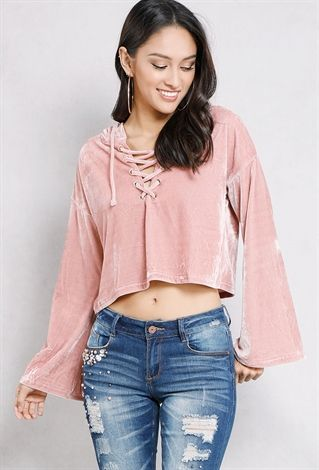 bd9066743447dc Lace-up velvet cropped hoodie | Cute affordable clothes | Tops, Lace crop  tops, Crop tops