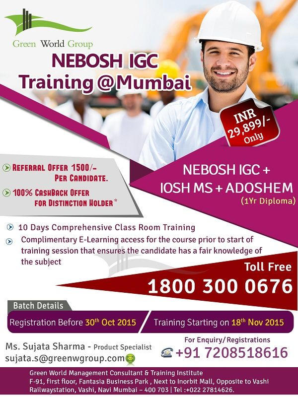 Green World Group Exciting Offers For Nebosh IGC At Mumbai 23899 INR Only