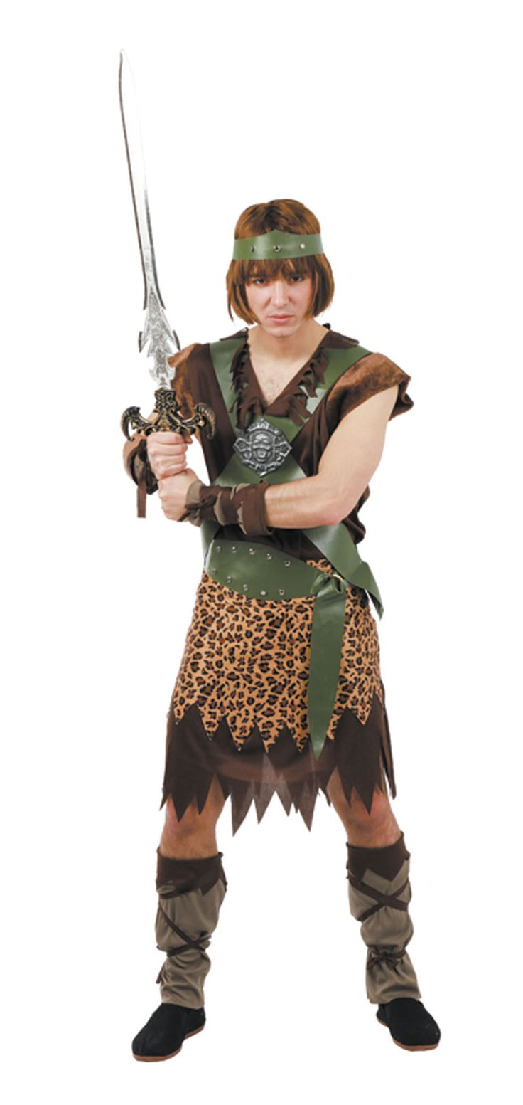 DisfracesMimo, disfraz de conan el barbaro hombre talla xl. Vístete como el protagonista Arnold Schwarzenegger de la pelicula dirigida por Jhon Milius. Este traje es ideal para tus fiestas temáticas de barbaros y vikingos guerreros.