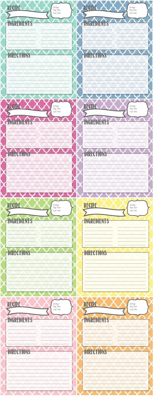 507 best printable recipe cards images on Pinterest Printable - free recipe card templates for microsoft word