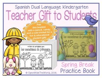 Would you like your students to keep up with their skills over SPRING BREAK? This mini-book is designed for teachers of SPANISH dual language immersion kindergarten programs to send home with students over Spring Break.