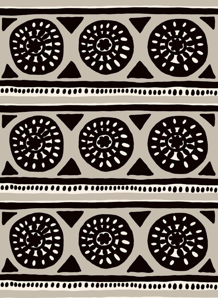 Kärrynpyörä cotton (beige, black, ecru) |Fabrics, Cottons | Marimekko
