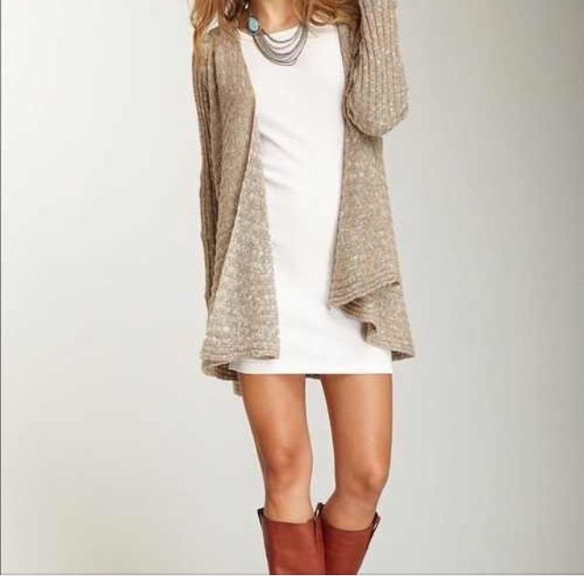 Fall dress-- short dress with sweater and boots. cute!